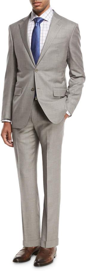 Ermenegildo Zegna Sharkskin Two-Piece Suit, Light Gray