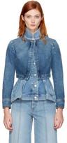 Alexander McQueen Blue Denim Peplum Jacket