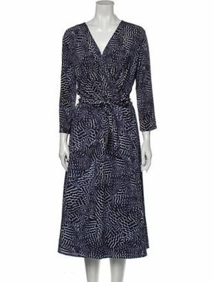 Max Mara Printed Midi Length Dress Blue