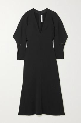 Victoria Beckham Embellished Fluted Cady Midi Dress - Black