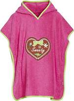Playshoes Girl's Frottee-Poncho, Badeponcho Sweety mit Kapuze Bathrobe, Pink (pink)