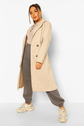 boohoo Petite Belted Trench Coat