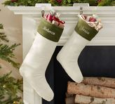 Pottery Barn Velvet Stocking - Ivory with Green Cuff
