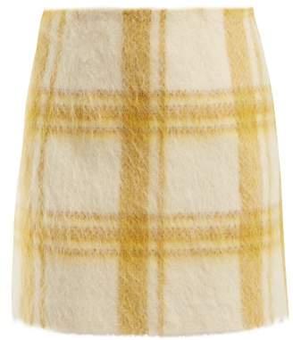 ALEXACHUNG Checked Wool Blend Mini Skirt - Womens - White Print