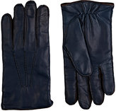 Barneys New York MEN'S TOPSTITCHED NAPPA LEATHER GLOVES-BLUE SIZE 10