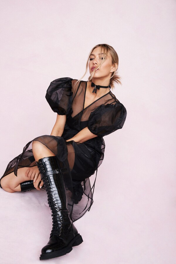 Thumbnail for your product : Nasty Gal Womens Organza Wrap Puff Sleeve Midi Dress - Black - 6
