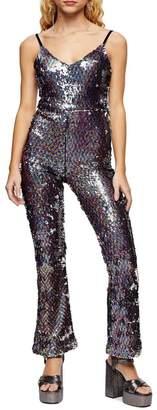 Topshop Rainbow Sequin Jumpsuit