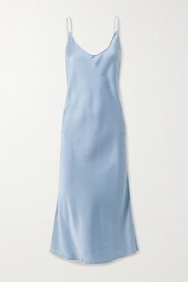 Skin Terra Stretch-silk Satin Chemise - Blue