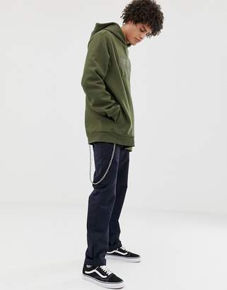 Dr. Denim Ace hoodie in grey with embroidered logo-Green