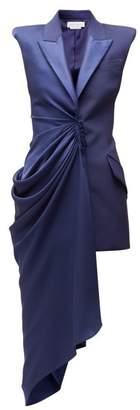 Alexander McQueen Asymmetric Single Breasted Longline Wool Jacket - Womens - Dark Blue