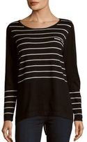 August Silk Long-Sleeve Striped Top
