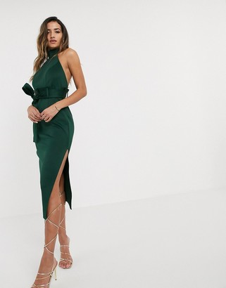 ASOS DESIGN paperbag halter pencil midi dress