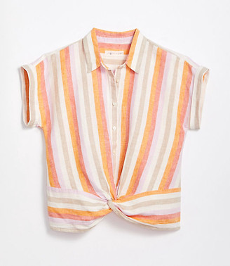 LOFT Lou & Grey Striped Linen Twist Front Shirt