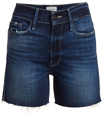 Frame Le Tour High-Rise Raw Edge Denim Shorts