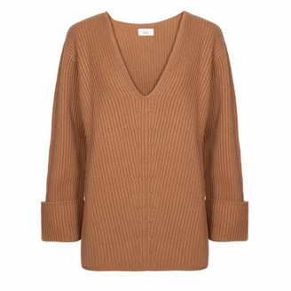 AME Terracota V Neck Sweater Camel - XS