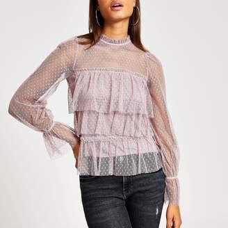 River Island Womens Purple polka dot sheer long sleeve frill top