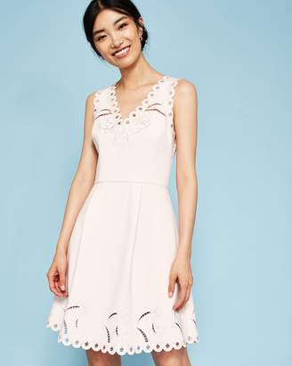 Ted Baker V-neck Embroidered Skater Dress