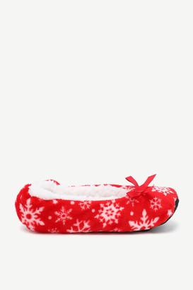Ardene Festive Snowflake Ballet Slippers