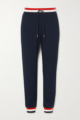 Thom Browne Striped Cotton-seersucker Track Pants - Navy