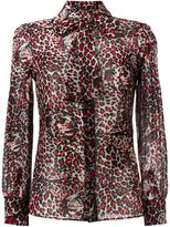 Saint Laurent tiger print pussybow blouse - women - Silk - 40