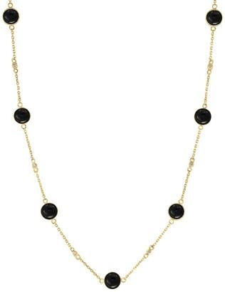 Effy 14K Yellow Gold Bezel Set Black Onyx & Diamond Station Necklace