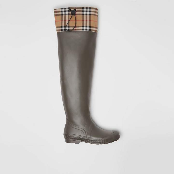 Burberry Vintage Check and Rubber Knee-high Rain Boots , Size: 39, Green