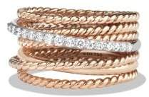 David Yurman Crossover Wide Ring With Diamonds In 18K Rose Gold