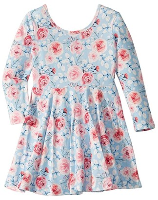 Rock Your Baby Pretty Flowers Long Sleeve Mabel Dress (Toddler/Little Kids/Big Kids) (Blue) Girl's Dress
