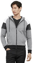 Kenneth Cole Zip Up Hoodie With Pleather And Mesh