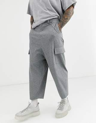 Asos Design DESIGN drop crotch gray tapered smart pants with cargo pockets and metal chain