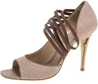 Fendi Beige Python Embossed Leather Open Toe Sandals Size 39