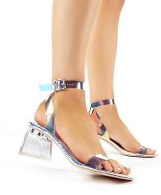 Public Desire Uk Afternoon Iridescent Perspex Block Mid Heels