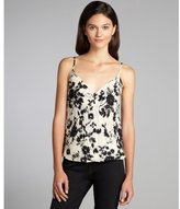 Chelsea Flower black and white printed silk surplice tank blouse