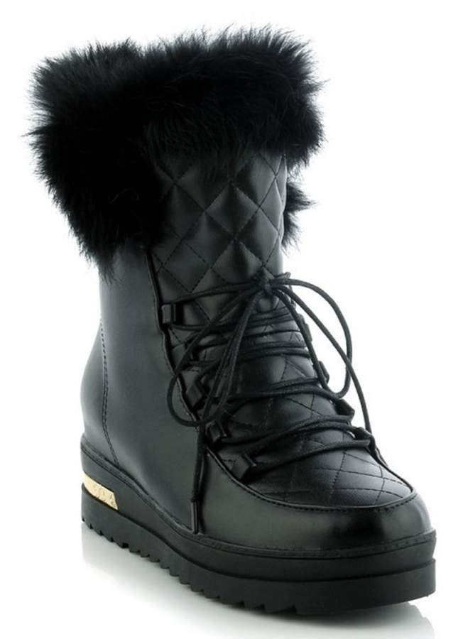 d78237314bd2d IDIFU Women's Comfy Mid Wedge Heels Heighten Platform Faux Fur Lined Lace  Up Ankle Snow Boots