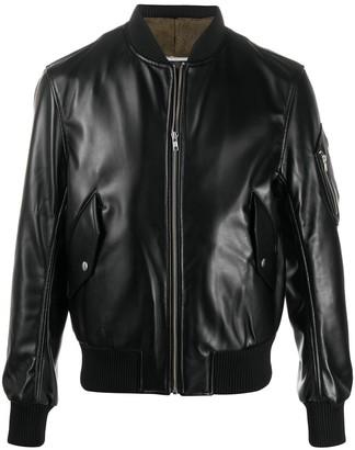 Random Identities Leather-Effect Zipped Bomber Jacket