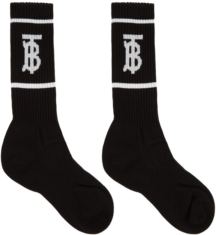 Burberry Black Intarsia Monogram Socks