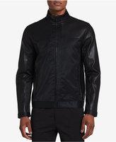 Calvin Klein Men's Faux Leather Mixed-Media Jacket