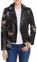 Aqua Butterfly Leather Moto Jacket - 100% Exclusive