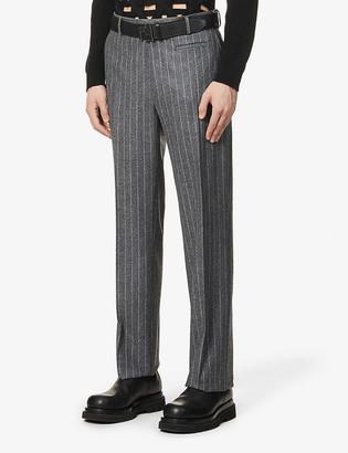 Fendi Pinstripe mid-rise wool-flannel trousers