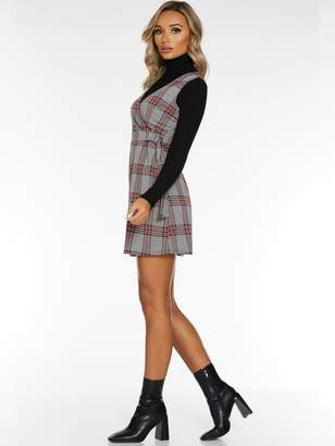 Quiz Jacquard Zip Front Pocket Detail Pinafore Dress - Black