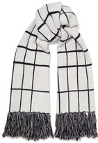 Rag & Bone Mallori Fringed Checked Merino Wool Scarf - Ivory