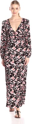 MinkPink Women's Crafty Critters Deep V-Neck Printed Maxi Dress