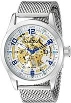 Peugeot Men's 1050S Mechanical Skeleton Stainless Steel Analog Hand-Wind Silver-Tone Watch
