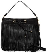 Milly Essex Fringe Leather Drawstring Crossbody