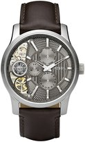 Fossil Men's ME1098 Leather Strap Textured Taupe Cutaway Analog Dial Chronograph Watch