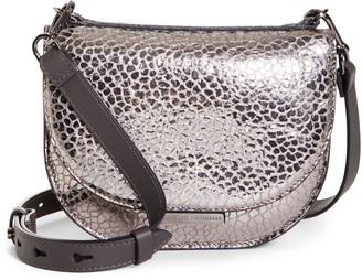 Brunello Cucinelli Embossed Leather Half Moon Crossbody Bag