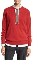 Brunello Cucinelli Monili-Tie Long-Sleeve Sweater, Poppy