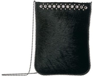 Leather Rock Nia Cell Pouch (Hair Black) Cross Body Handbags