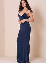 Missy Empire Paola Navy Cut Out Slinky Maxi Dress