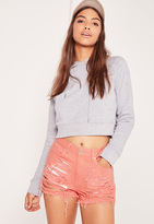 Missguided High Waisted Shredded Denim Shorts Pink